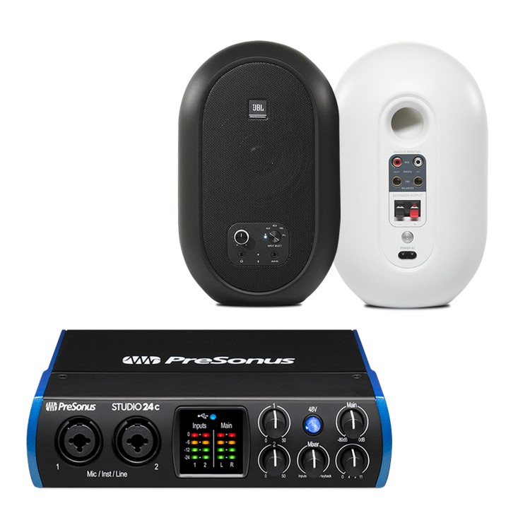 PreSonus Studio 24c 錄音介面 + JBL 104BT 藍芽同軸監聽喇叭 錄音監聽套裝組