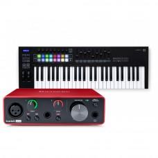 Focusrite Scarlett Solo 錄音介面 + Novation Launchkey 49 MK3 主控鍵盤|創作套裝