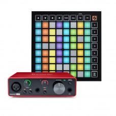 Focusrite Scarlett Solo 錄音介面 + Novation LaunchPad X MIDI控制器(節奏打擊墊)|創作套裝