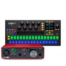 Focusrite Scarlett Solo 錄音介面 + Presonus ATOM SQ MIDI控制器(軟體控制器)|創作套裝