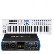PreSonus Studio 24c 錄音介面 + Arturia Keylab Essential 49 MIDI 主控鍵盤|創作套裝