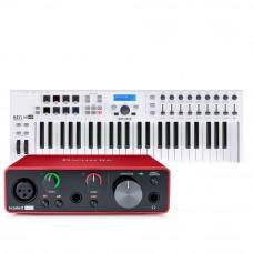 Focusrite Scarlett Solo 第3代 錄音介面 + Arturia Keylab Essential 49 MIDI主控鍵盤|創作套裝