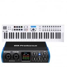 PreSonus Studio 24c 錄音介面 + Arturia Keylab Essential 61 MIDI 主控鍵盤|創作套裝