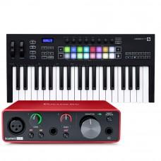 Focusrite Scarlett Solo 錄音介面 + Novation Launchkey 37 MK3 主控鍵盤|創作套裝