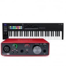 Focusrite Scarlett Solo 錄音介面 + Novation Launchkey 61 MK3 主控鍵盤|創作套裝