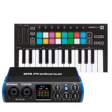 PreSonus Studio 24c 錄音介面 + Novation Launchkey Mini 主控鍵盤|創作套裝