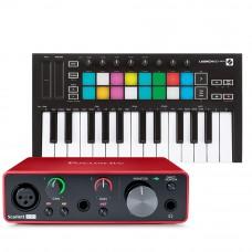 Focusrite Scarlett Solo 錄音介面 +  Novation Launchkey Mini MK3 主控鍵盤|創作套裝